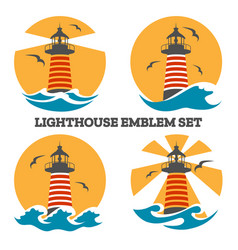 colorful lighthouse emblem set vector image