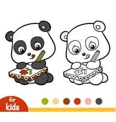 Coloring book panda vector