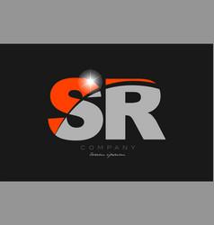 Combination letter sr s r in grey orange color vector