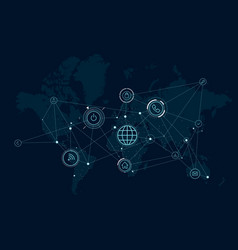 communications network map of the world data vector image