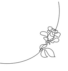 Continuous line drawing of beautiful rose logo vector