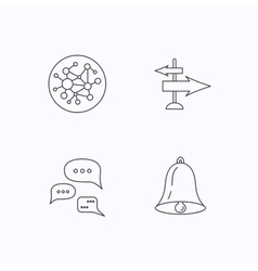 Conversation global network and direction icon vector image
