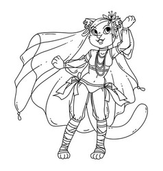 Cute cat woman belly dancer vector
