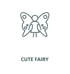 cute fairy line icon cute fairy outline vector image