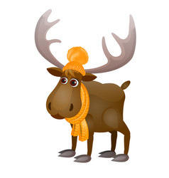 cute frozen cartoon moose in knitted scarf and hat vector image