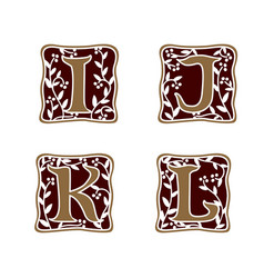 decoration letter i j k l logo design concept vector image