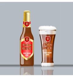 Digital glass of brown beer vector image