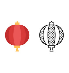 drum lantern icon set chinese traditional vector image