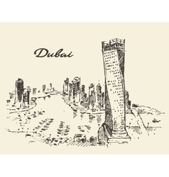 Dubai City skyline silhouette drawn vector image