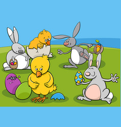 easter characters group cartoon vector image