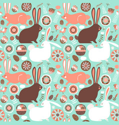 easter rabbit spring doodle seamless pattern vector image