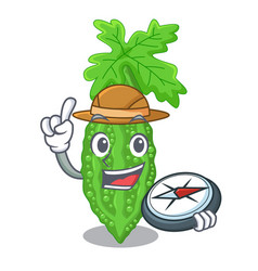 Explorer bitter melon character on vegetables vector