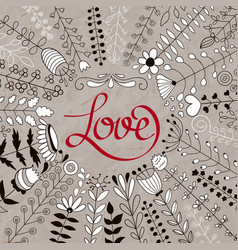 floral wreath and love lettering vector image