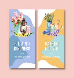 Flower garden flyer design with hyacinth vector