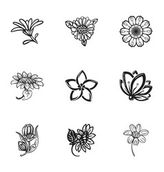 Flower plant icon set simple style vector