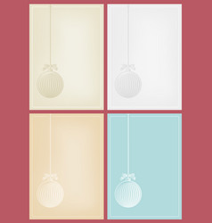 four christmas cards in woodcut style vector image