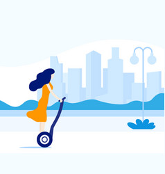 girl riding an electric scooter in city vector image