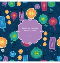 Glowing lanterns frame seamless pattern background vector