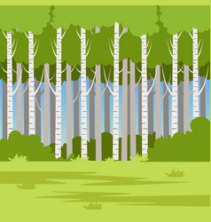 Green field and forest beautiful summer landscape vector