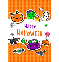 Greeting card with cute halloween vector