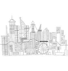 hand drawn business center big city street vector image