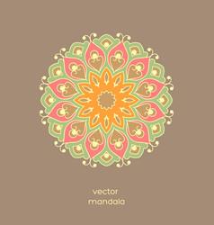 hand drawn colorful floral mandala vector image