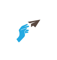 hand throwing a paper rocket freedom concept vector image