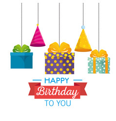 happy birthday celebration card with gifts hanging vector image