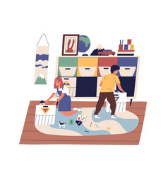 Happy children clean up together at playroom vector