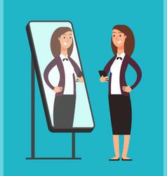 Happy smiling narcissistic confident businesswoman vector
