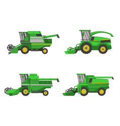 Harvesting combine set isolated on white vector