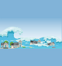 house destroyed by tsunami waves vector image