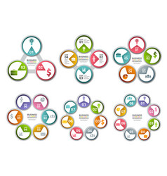 Infographic radial shapes circled charts and vector
