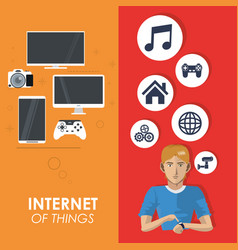 Internet things man wearable technology network vector