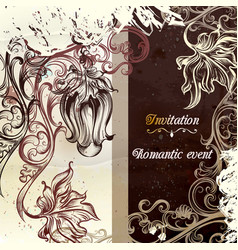 invitation card in grunge victorian style vector image