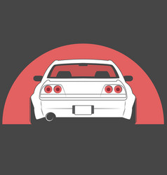 Japan sport car on red sun background vector