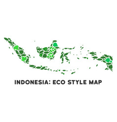 leaf green composition indonesia map vector image