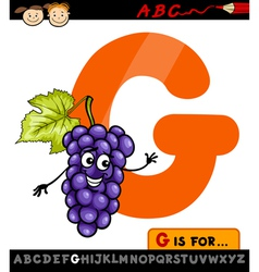 letter g with grapes cartoon vector image