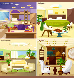 Living Room Interiors 2x2 Design Concept vector