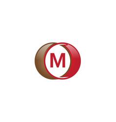 m letter circle logo vector image