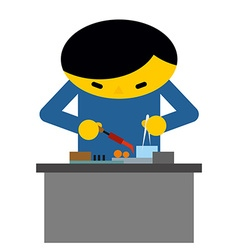 Man behind desk repairs electronic equipment vector