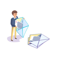man holding letter papers in envelopes vector image