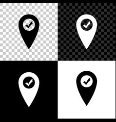 map pointer with check mark icon isolated on black vector image