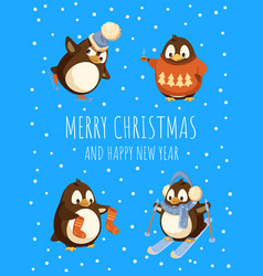 merry christmas and happy new year penguins card vector image