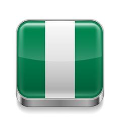 Metal icon of Nigeria vector image