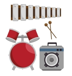 Music festival set instruments vector