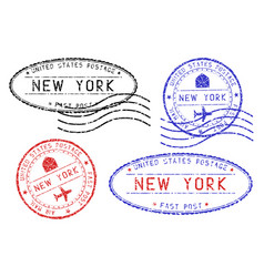 new york mail stamps collection faded colored vector image