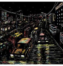Night city traffic vector