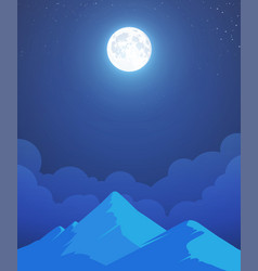 Night mountain landscape with whole moon vector