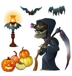 old witch with scythe pumpkin lantern and bats vector image vector image